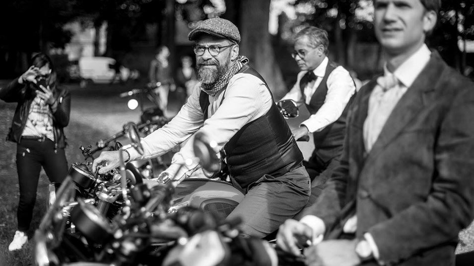 Man sitting on bike at distinguished gentlemans ride