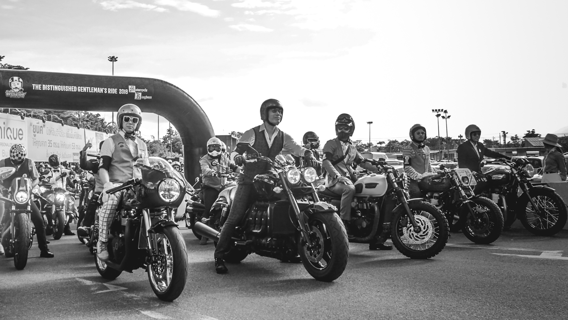 Triumph riders ready at the start line for the Distinguished Gentlemen's Ride in Thailand