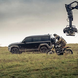 No time to die rehearsals set with the scrambler 1200 and Tiger 900 rally movie bikes and the new defender