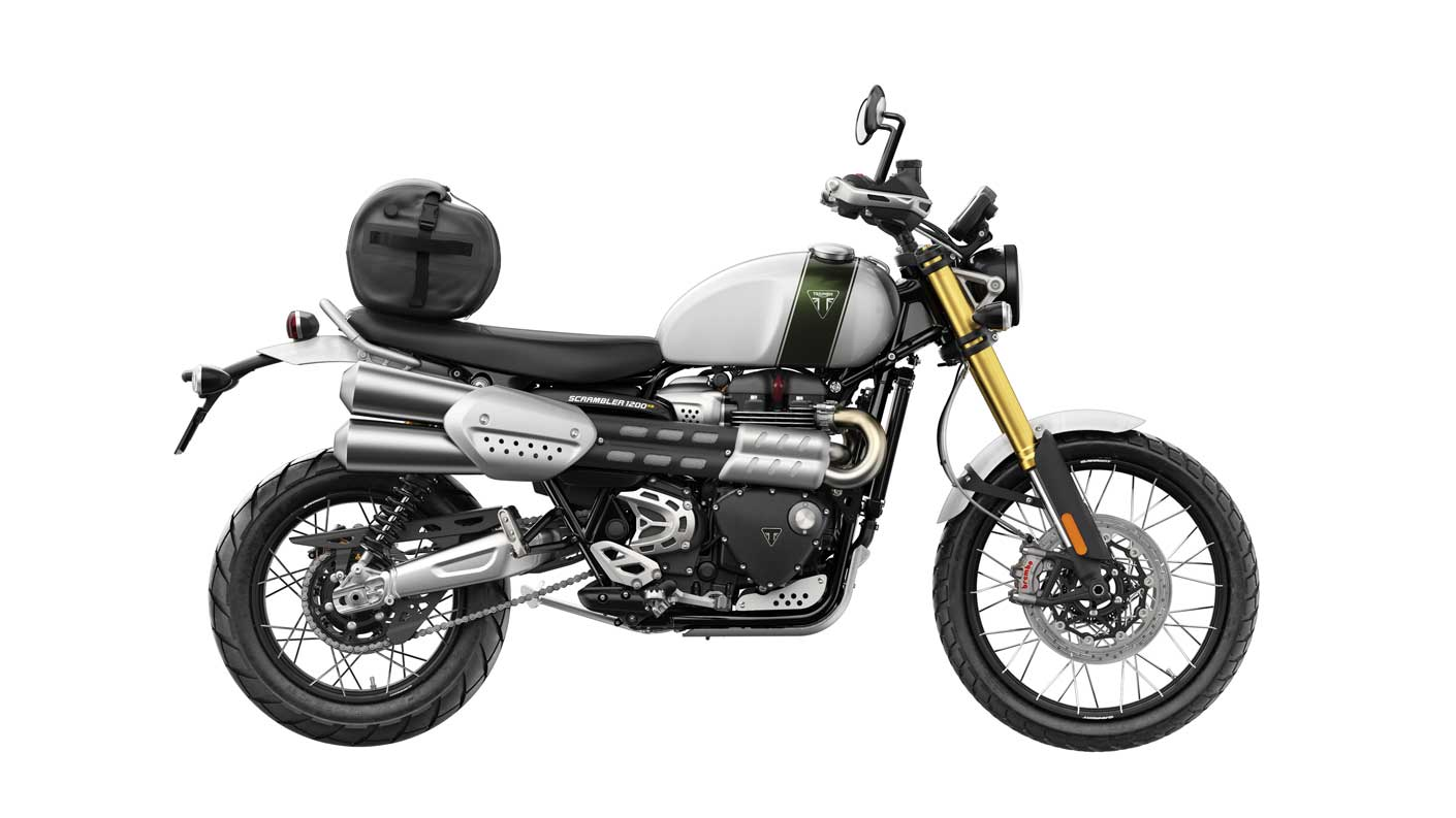 Triumph Scrambler 1200 XE with roll bag