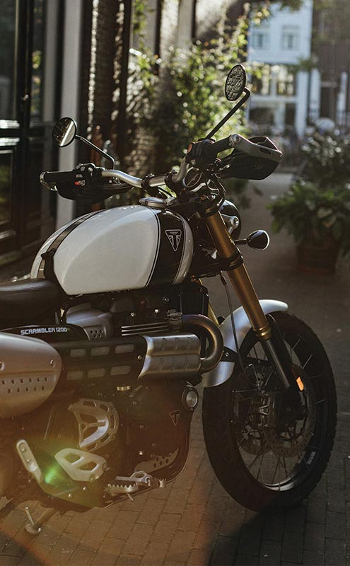 Close-up shot of Triumph Scrambler 1200 XE in Amsterdam