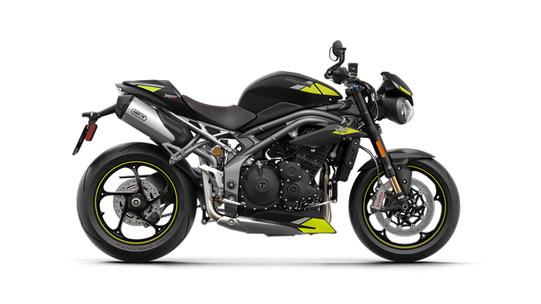 Right hand side CGI of the Triumph Speed Triple RS in Matt Jet Black colourway with decals