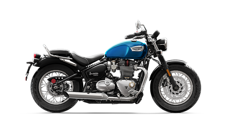 Right hand side CGI of the Triumph Bonneville Speedmaster in Cobalt Blue and Jet Black colourway