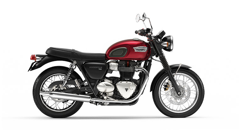 Right hand side CGI of the Triumph Bonneville T100 in cranberry red colourway