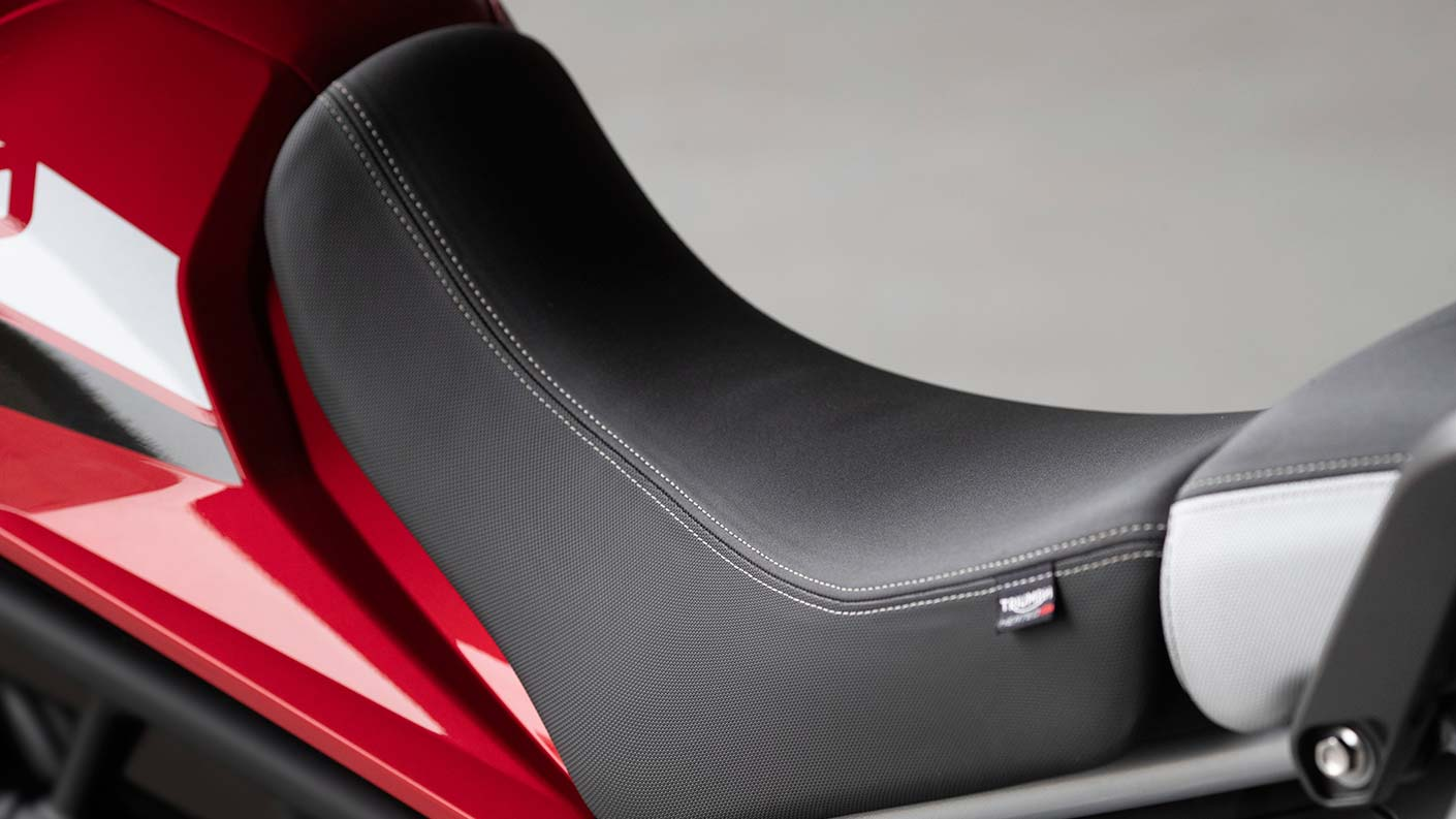 Close-up of Tiger 900 GT Pro heated rider seat