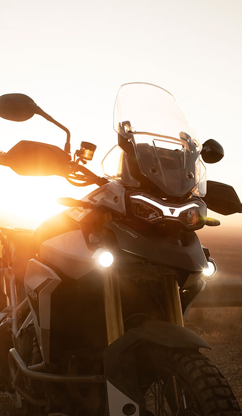 Close-up of a Triumph Tiger Rally Pro at sunrise