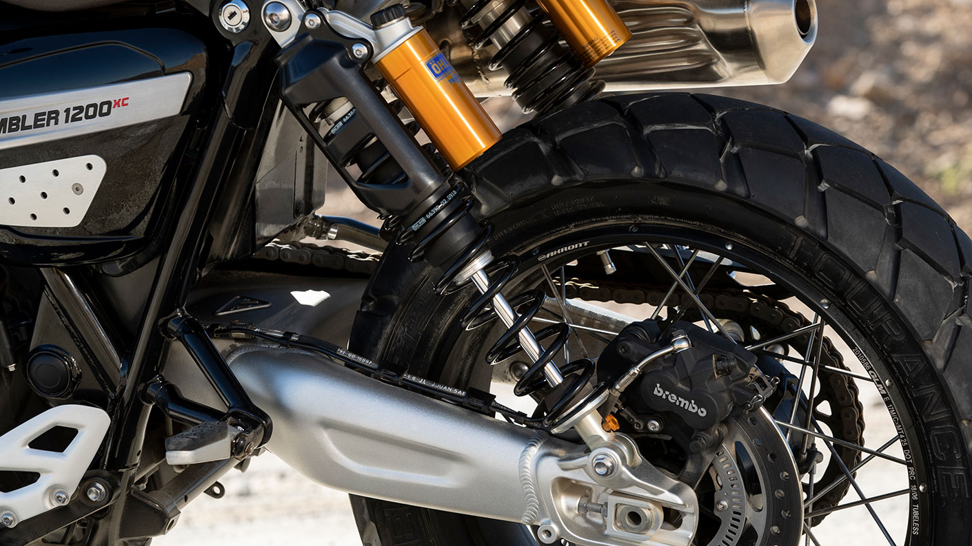 Triumph Scrambler 1200 XC adjustable rear suspension unit with brembo brakes and ohlins suspension also featured