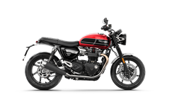 Right hand shoot of the Triumph Speed Twin in Korosi Red and Storm grey with graphite coachline