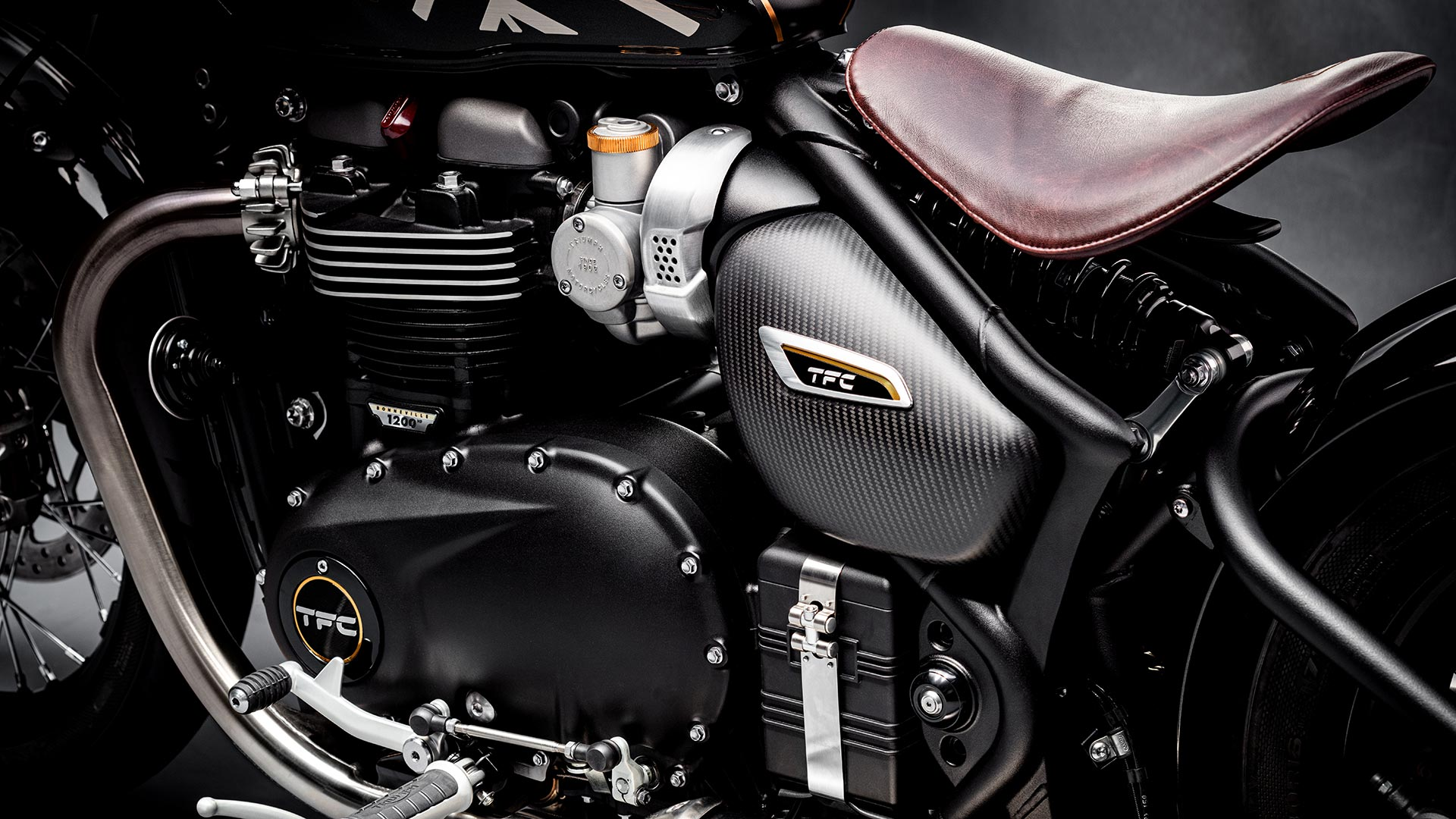Close-up shot of the Triumph Bobber TFC's powerful engine