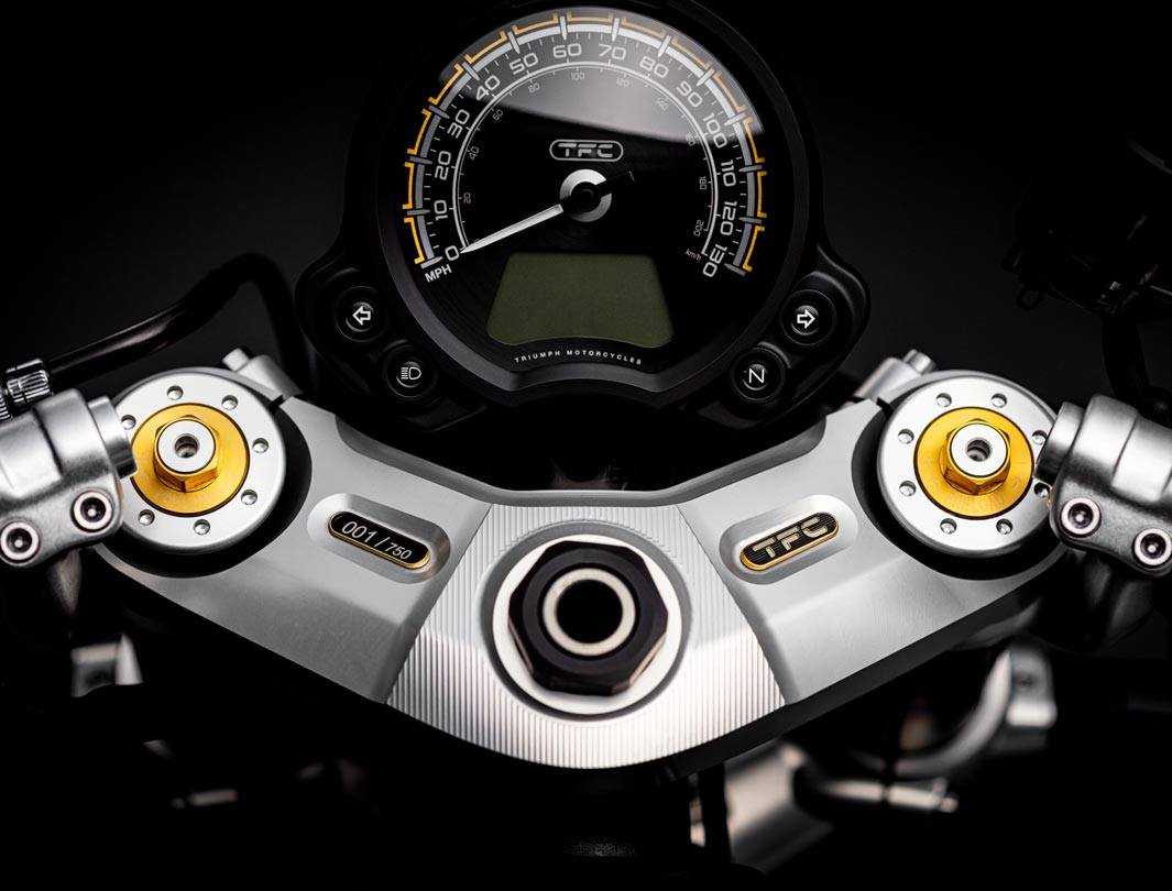 Point-of-view shot of the Triumph Bobber TFC's top yoke and dial